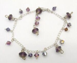 "8-10"" Silver Tone Aurora Borealis Amethyst Glass Bead Dangle Anklet/Bracelet"