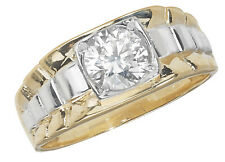 9ct Carat White/Yellow Gold Gents/Men Ring with Cubic Zirconia/CZ