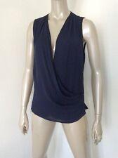 NWT Ralph Lauren Sz 12 Navy Blue Silk Slimming Draped Blouse Camisole Tank $265