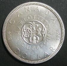CANADA - ONE DOLLAR 1964 CHARLOTTETOWN QUEBEC - REINE ELIZABETH II -  Argent