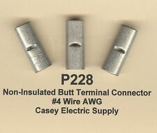 10 Non Insulated BUTT Terminals Connectors Uninsulated #4 Wire AWG MOLEX
