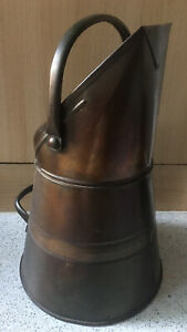 Large Antique Brass And Copper Coal Scuttle Bucket Fire Fireplace Hearth