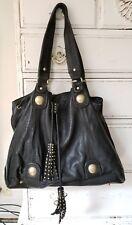 450 Cynthia Rowley Black Leather Studded slouchy big Handbag shoulder tote  Bag ff4453b03b
