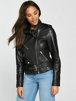 BNWT V by Very Unique Tie Knot Real Leather Biker Jacket Black Size 8 RRP £150