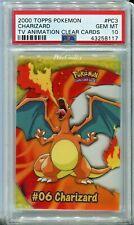 PSA 10 GEM MINT Pokemon Charizard Topps Clear Card PC3 2000 TV Animation