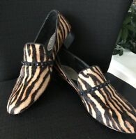 RACHEL ROY Mabyn Leather Brown Tiger Animal Print Flats Size 9.5 M Real Fur!