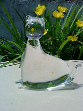 Cat in Clear Glass Paperweight  4.75'' High