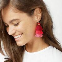 Women Fashion Bohemian Long Tassel Fringe Vintage Boho Hook Dangle Earrings Gift