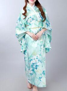 Traditionelle Japanische Luftiger Kimono Damen Mantel mit Hüftgürtel Türkis