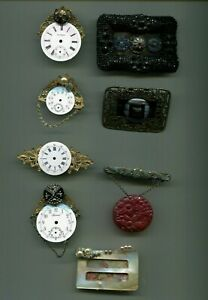 LOT of Antique Button, Watch & Buckle Jewelry - Needs Restoration - Great Find!