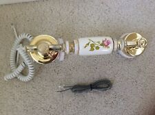 CERAMIC TELEPHONE'S WHITE & GOLD WITH PINK ROSE RECEIVER ONLY