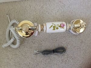 CERAMIC TELEPHONE WHITE & GOLD WITH PINK ROSE RECEIVER ONLY