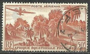 French Equatorial Africa 1946 Air Post Stamp Used 50F Airplane Palm Trees