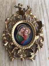 Antica Miniatura  Dipinta Su Vetro Con Cornice In Legno Dorato. Epoca 800