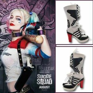 New Suicide Squad Costume Fancy Dress Shoes Cosplay Harley Quinn Highheels Boots