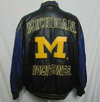 Michigan Wolverines Leather Jacket Mens XXL Vintage 90's G-III Lining Zipper