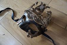 MENS Venetian black/gold ROMAN / GREEK Mask.Masquerade /Ball /Prom. FREEPOST.UK