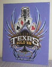 "Hoyle Texas Hold'Em Metal Sign 15""X 12"" Cards Poker Chips Spade #Ar03"