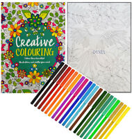 CREATIVE THERAPY - ADULT COLOURING BOOK A4 - ANTI-STRESS + 18 FELT TIPS