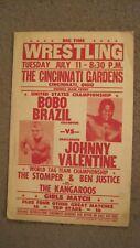 BOBO BRAZIL & JOHNNY VALENTINE  1970's Wrestling Poster Cincinnati Gardens