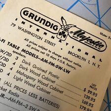 Vintage 1960s GRUNDIG MAJESTIC Audio HI FI PRICE LIST