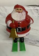 Vintage Santa Claus On Skis Candy Container Hard Plastic Christmas