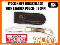 TOLEDO SK4 - STOCK KNIFE - SINGLE BLADE WITH LEATHER POUCH - 110MM - ERGONOMIC