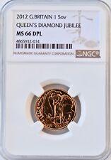 2012 Gold Full Sovereign Jubilee NGC MS66 DPL Great Britain Sovereign UK BU
