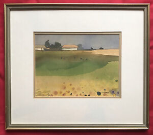 Original Chinese Hong Kong Art Watercolour Painting Landscape By Y. C. Fung