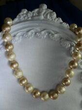 "16"" beige cream beads gold tone necklace 720"