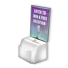 Styrene White Medium Suggestion Box 7.75W x 5.5D x 6H Inches with Sign,Lock&Keys