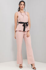 45608b9651e ASOS Pink Wide Leg Jumpsuit with Belt Detail Sizes 6-16