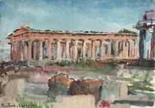 TEMPLE PAESTUM ITALY Antique Watercolour Painting 1927 IMPRESSIONIST