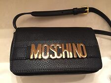 $795 Moschino Couture Jeremy Scott Black LEATHER Gold Letters Logo Crossybod Bag
