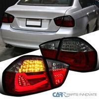For 05-08 BMW E90 3 Series Sedan 4Dr LED Red/Smoke Rear Tail Lights Brake Lamps