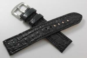 Handmade Genuine Black Hornback Alligator Leather Watch Strap (Made in U.S.A)