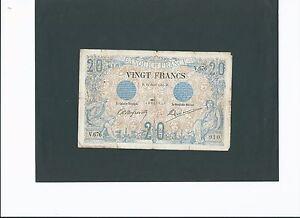 20 francs Noir du 22/08/1904. rare et recherché !