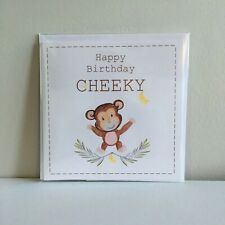 Happy Birthday Cheeky, Monkey Birthday Card, Blank card, Greeting Card, Birthday