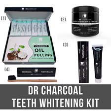 Dr Charcoal's Teeth Whitening Kit - Activated Charcoal Powder Kit + Oil Pulling