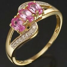 Jewellry Size 7 Luxury Pink Sapphire Women 18K Gold Filled AAA Emerald Cut Rings