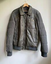 Authentic Aeronautica Militare Men's Leather Bomber Pilot Jacket Gray Size 52