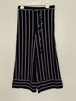 Womens Cropped Trousers Size Small Navy Stripe Wide Leg by Alice in the Eve
