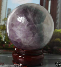 64MM +Stand Glow In The Dark Natural Purple Fluorite Magic Crystal Healing Ball&