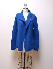 EILEEN FISHER Bright Blue Lambswool Open Front Waterfall Cardigan Sweater Size S