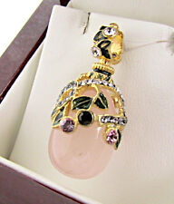 SALE ! SUPERB RUSSIAN EGG PENDANT STERLING SILVER 925 ENAMEL GENUINE PINK JADE