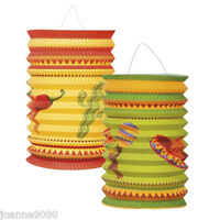 Set Of 2 Mexican Fiesta Party Hanging Ceiling Decoration Paper Sombrero Lanterns