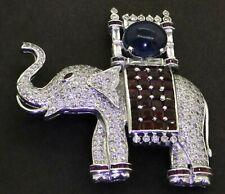 Heavy Platinum 15.71CT VS diamond ruby No Heat sapphire elephant brooch