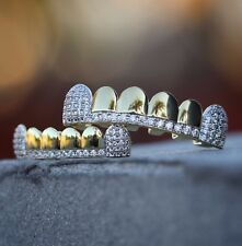 Hip Hop Grillz 14K Gold Teeth GRILLZ Set Top Bottom ICED OUT CZ Tooth Caps Grill