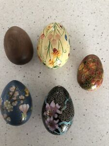 Pretty Cloisonné / Wooden / Painted Decorative Eggs