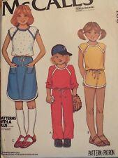 VTG 79 McCALLS 6529 Girls Knit T-Shirt Skirt Pants & Shorts PATTERN 12/30B UC
